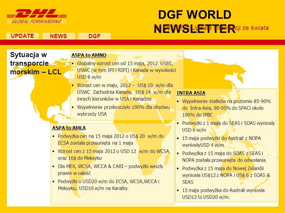 UPDATE DGF WORLD NEWSLETTER 20.06.2012 | Update informacji ze świata NEWS DGF ASPA to AMNO Globalny wzrost cen od 15 maja, 2012 USEC, USWC (w tym IPI i RIPI) i Kanada w wysokości USD 8 w/m Wzrost cen w maju, 2012 – US$ 10 w/m dla USWC Zachodnia Kanada, US$ 14 w/m dla innych kierunków w USA i Kanadzie Wypełnienie przekroczyło 100% dla obydwu wybrzeży USA ASPA to AMLA Podwyżka cen na 15 maja 2012 o US$ 20 w/m do ECSA została przesunięta na 1 maja Wzrost cen z 15 maja 2012 o USD 12 w/m do WCSA oraz 16$ do Meksyku Dla MEX, WCSA, WCCA & CARI – podwyżki weszły prawie w całość Podwyżki o USD20 w/m do ECSA, WCSA,WCCA i Meksyku; USD16 w/m na Karaiby.