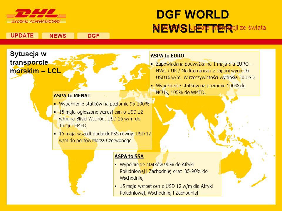 UPDATE DGF WORLD NEWSLETTER 20.06.2012 | Update informacji ze świata NEWS DGF ASPA to MENAT Wypełnienie statków na poziomie 95-100% 15 maja ogłoszono wzrost cen o USD 12 w/m na Bliski Wschód, USD 16 w/m do Turcji i EMED 15 maja wszedł dodatek PSS równy USD 12 w/m do portów Morza Czerwonego ASPA to SSA Wypełnienie statków 90% do Afryki Południowej i Zachodniej oraz 85-90% do Wschodniej 15 maja wzrost cen o USD 12 w/m dla Afryki Południowej, Wschodniej i Zachodniej Sytuacja w transporcie morskim – LCL ASPA to EURO Zapowiadana podwyżka na 1 maja dla EURO – NWC / UK / Mediterranean z Japoni wyniosła USD16 w/m.