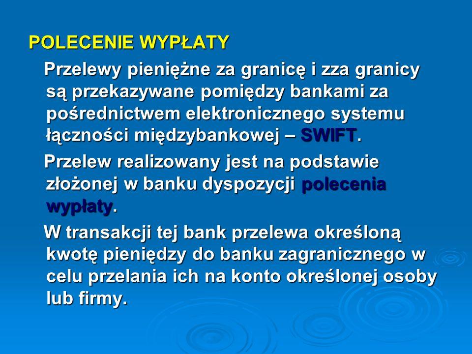 POLECENIE WYPŁATY Przelewy pieniężne za granicę i zza granicy są przekazywane pomiędzy bankami za pośrednictwem elektronicznego systemu łączności międ