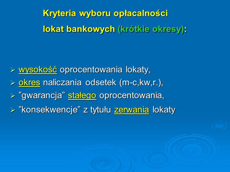 Kryteria wyboru opłacalności lokat bankowych (krótkie okresy): wysokość oprocentowania lokaty, wysokość oprocentowania lokaty, okres naliczania odsete