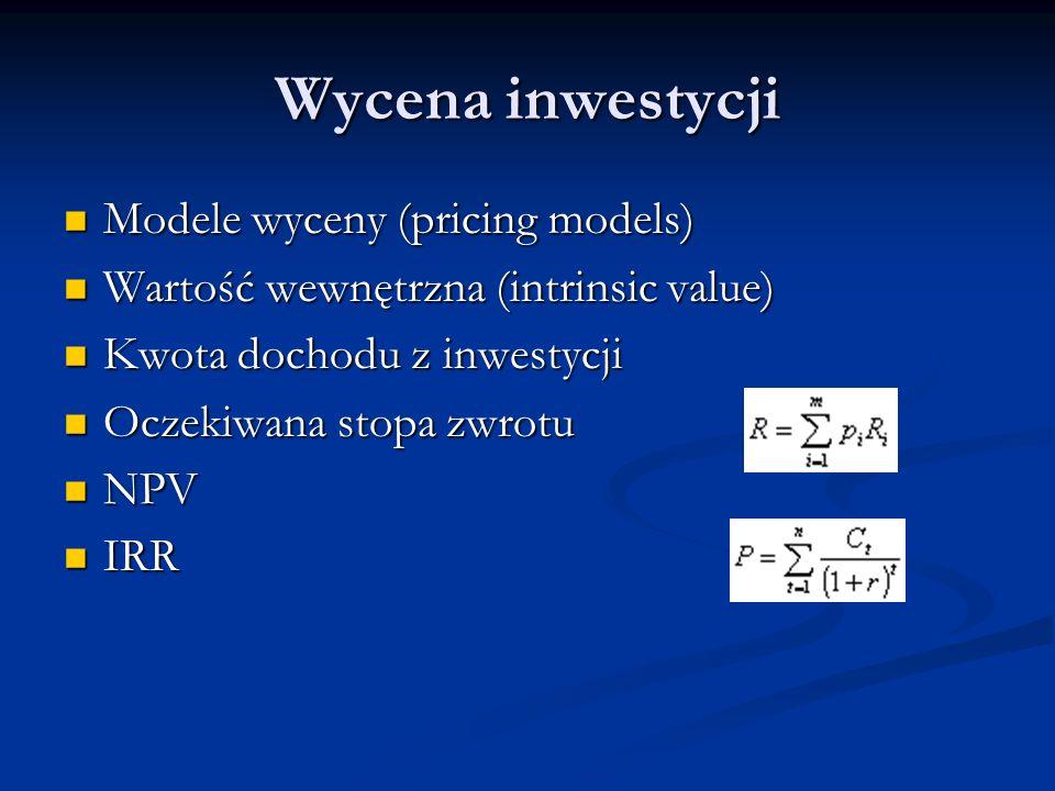 Wycena inwestycji Modele wyceny (pricing models) Modele wyceny (pricing models) Wartość wewnętrzna (intrinsic value) Wartość wewnętrzna (intrinsic val