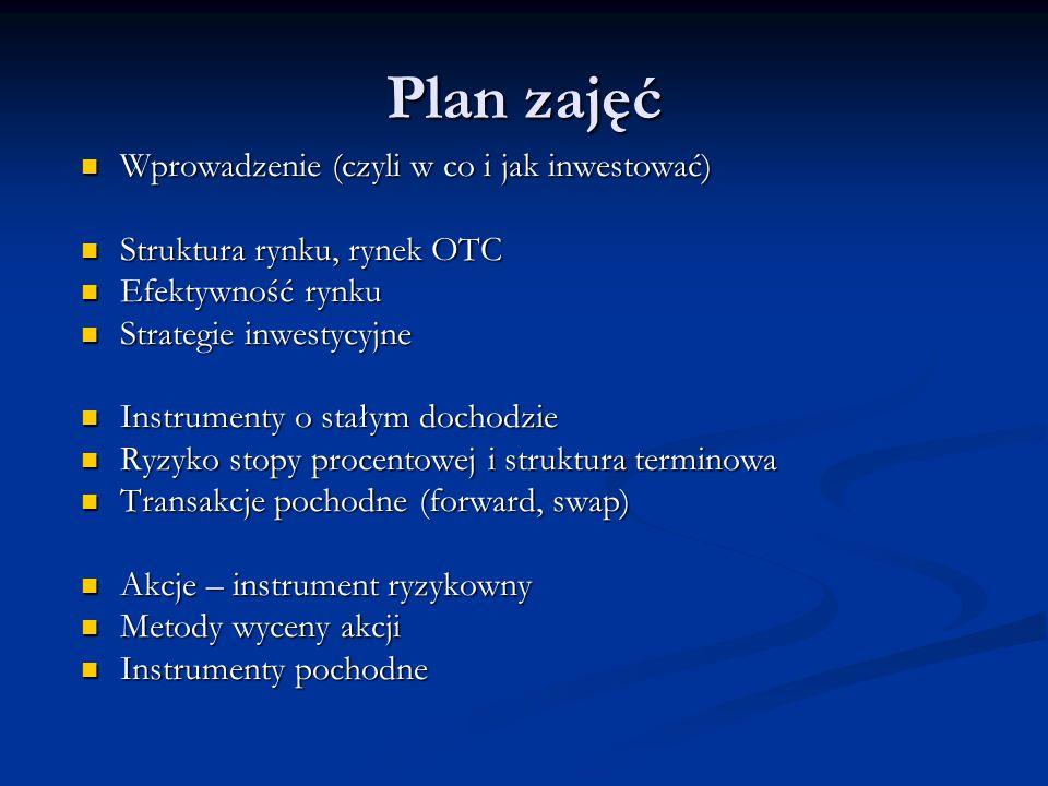 Plan zajęć Wprowadzenie (czyli w co i jak inwestować) Wprowadzenie (czyli w co i jak inwestować) Struktura rynku, rynek OTC Struktura rynku, rynek OTC