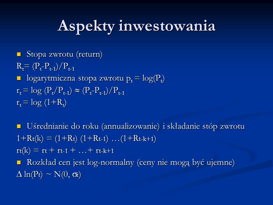 Aspekty inwestowania Stopa zwrotu (return) Stopa zwrotu (return) R t = (P t -P t-1 )/P t-1 logarytmiczna stopa zwrotu p t = log(P t ) logarytmiczna st