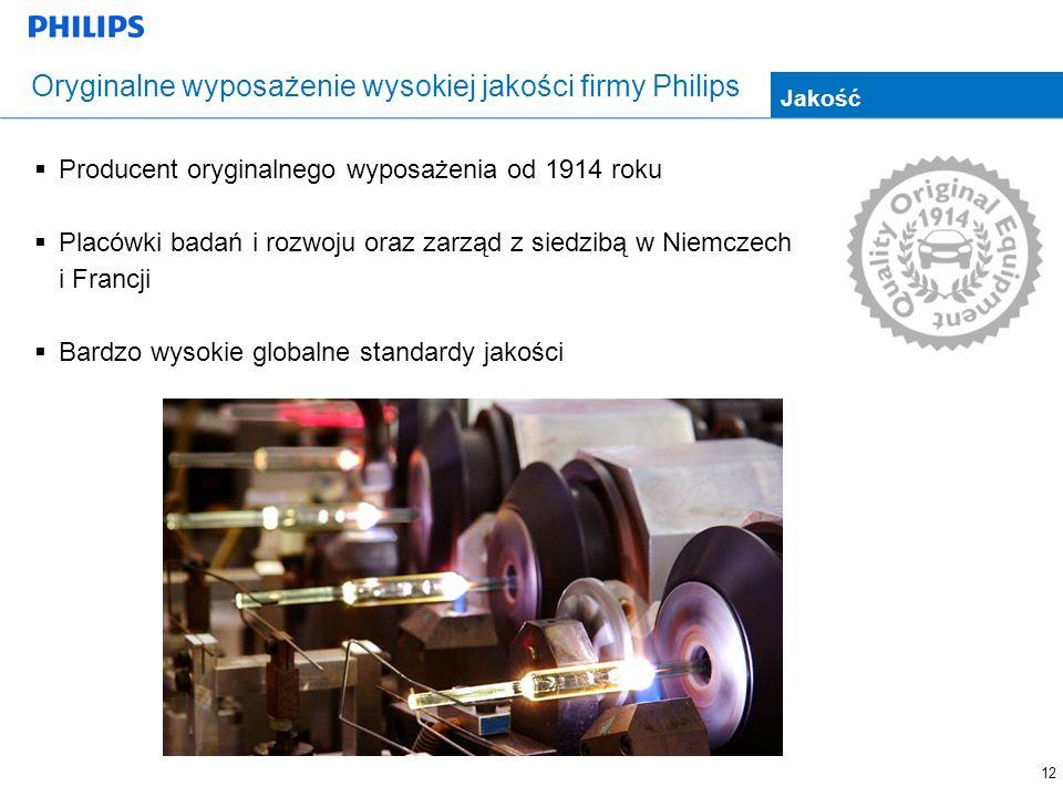 12 Oryginalne wyposażenie wysokiej jakości firmy Philips Producent oryginalnego wyposażenia od 1914 roku Placówki badań i rozwoju oraz zarząd z siedzibą w Niemczech i Francji Bardzo wysokie globalne standardy jakości Jakość