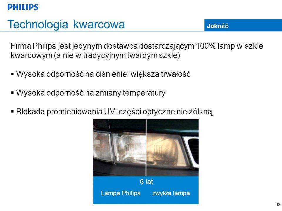 13 Technologia kwarcowa Firma Philips jest jedynym dostawcą dostarczającym 100% lamp w szkle kwarcowym (a nie w tradycyjnym twardym szkle) Wysoka odporność na ciśnienie: większa trwałość Wysoka odporność na zmiany temperatury Blokada promieniowania UV: części optyczne nie żółkną Jakość 6 lat Lampa Philipszwykła lampa