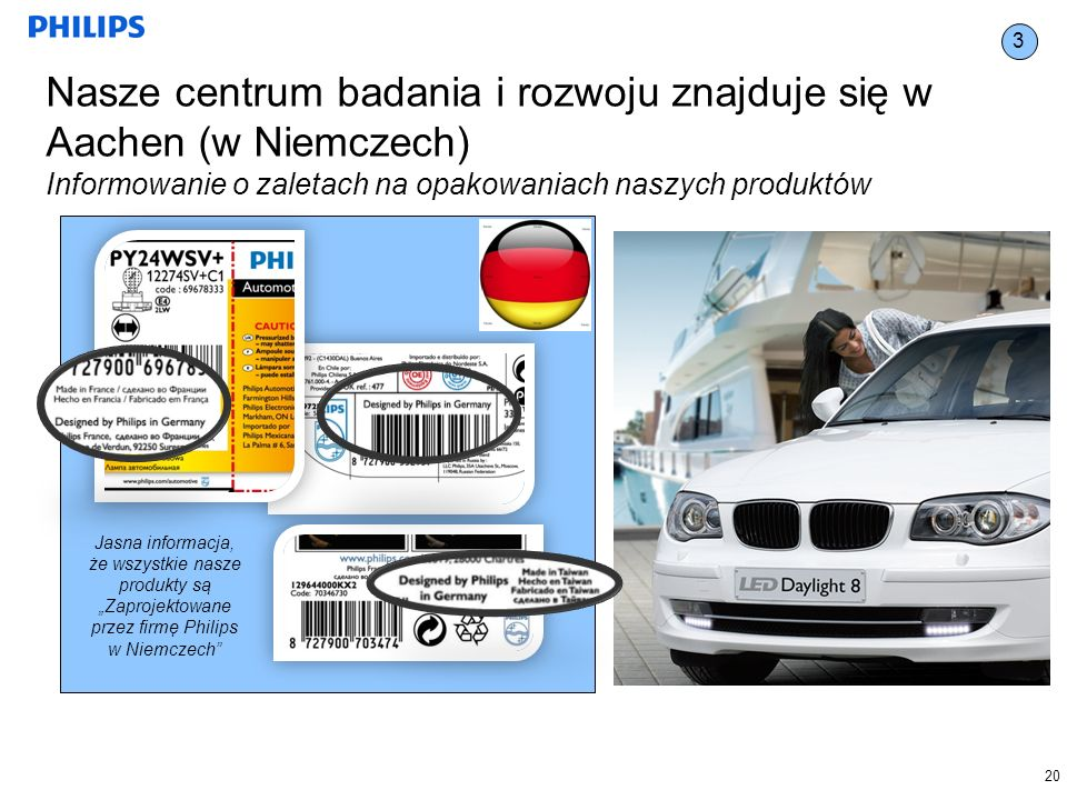 20 3 Nasze centrum badania i rozwoju znajduje się w Aachen (w Niemczech) Informowanie o zaletach na opakowaniach naszych produktów Jasna informacja, że wszystkie nasze produkty są Zaprojektowane przez firmę Philips w Niemczech