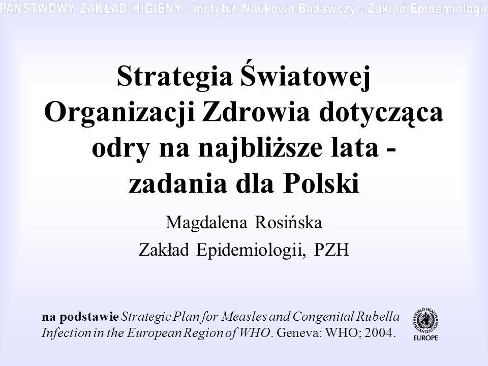 Strategia Światowej Organizacji Zdrowia dotycząca odry na najbliższe lata - zadania dla Polski Magdalena Rosińska Zakład Epidemiologii, PZH na podstaw