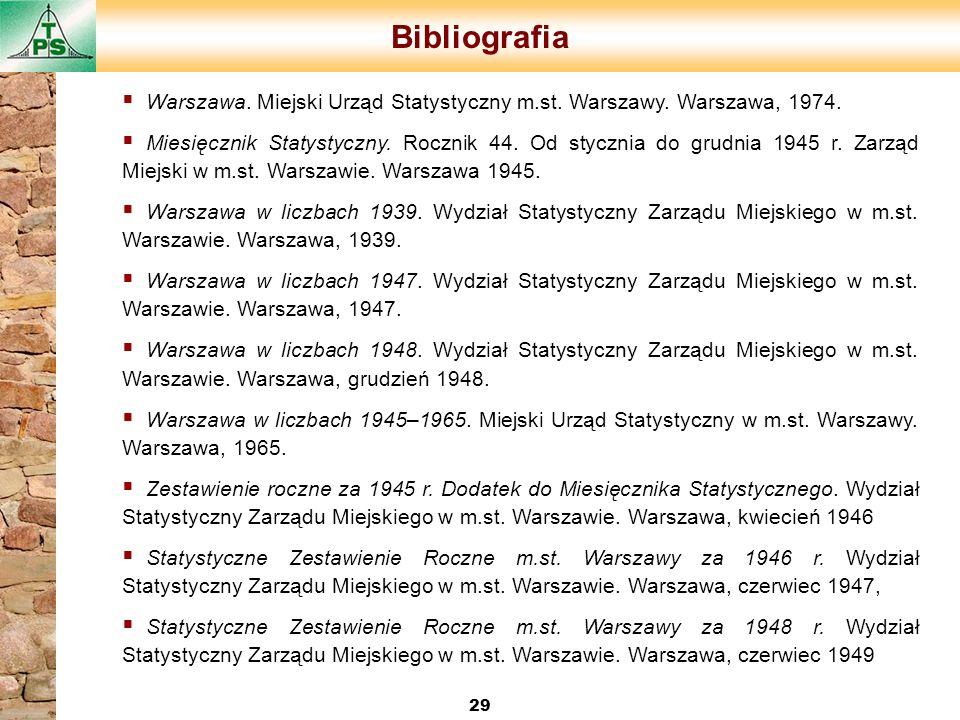 Bibliografia 29 Warszawa. Miejski Urząd Statystyczny m.st. Warszawy. Warszawa, 1974. Miesięcznik Statystyczny. Rocznik 44. Od stycznia do grudnia 1945