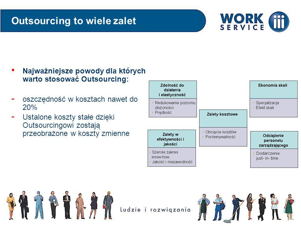 Outsourcing to wiele zalet Najważniejsze powody dla których warto stosować Outsourcing: - oszczędność w kosztach nawet do 20% - Ustalone koszty stałe