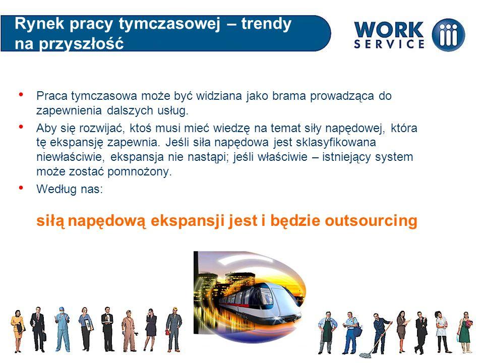 Rynek pracy tymczasowej – trendy na przyszłość Praca tymczasowa może być widziana jako brama prowadząca do zapewnienia dalszych usług. Aby się rozwija