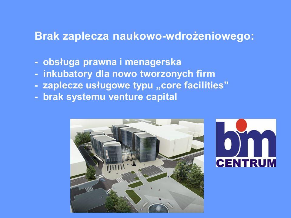 Brak zaplecza naukowo-wdrożeniowego: - obsługa prawna i menagerska - inkubatory dla nowo tworzonych firm - zaplecze usługowe typu core facilities - brak systemu venture capital