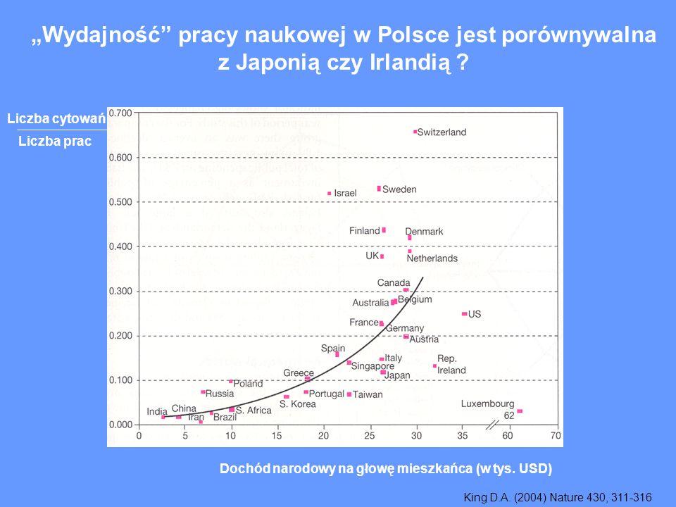 Wydajność pracy naukowej w Polsce jest porównywalna z Japonią czy Irlandią .