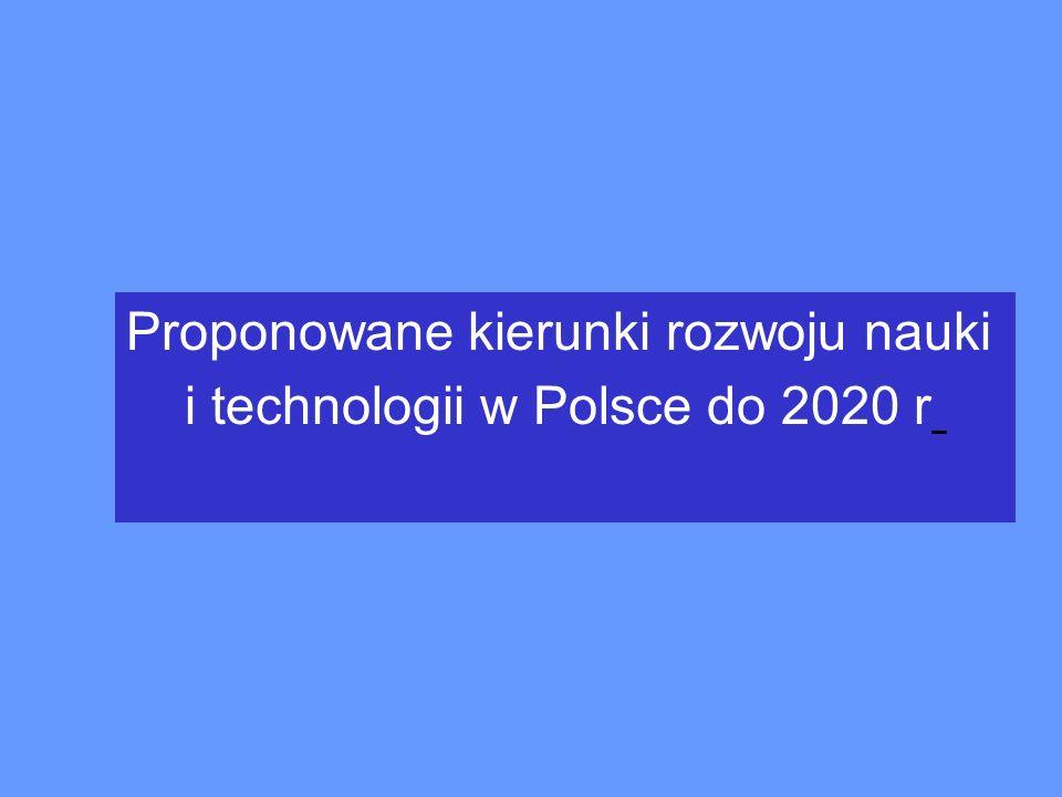 Proponowane kierunki rozwoju nauki i technologii w Polsce do 2020 r