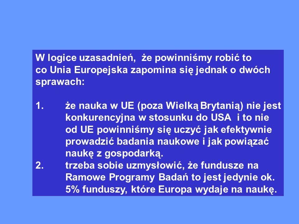 W logice uzasadnień, że powinniśmy robić to co Unia Europejska zapomina się jednak o dwóch sprawach: 1.