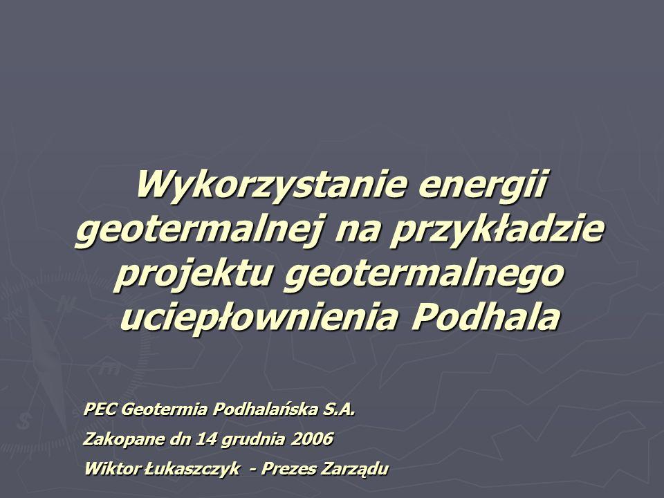 Zasoby energii geotermalnej w Polsce głębiej leżące poziomy zbiornikowe wód geotermalnych zalegają w utworach kredy, jury oraz triasu głębiej leżące poziomy zbiornikowe wód geotermalnych zalegają w utworach kredy, jury oraz triasu temperatury od 40 C po około 100 C, a nawet 160 C temperatury od 40 C po około 100 C, a nawet 160 C Zasoby dyspozycyjne energii geotermalnej Niżu Polski ocenione zostały na 6 682 000 TJ/rok.