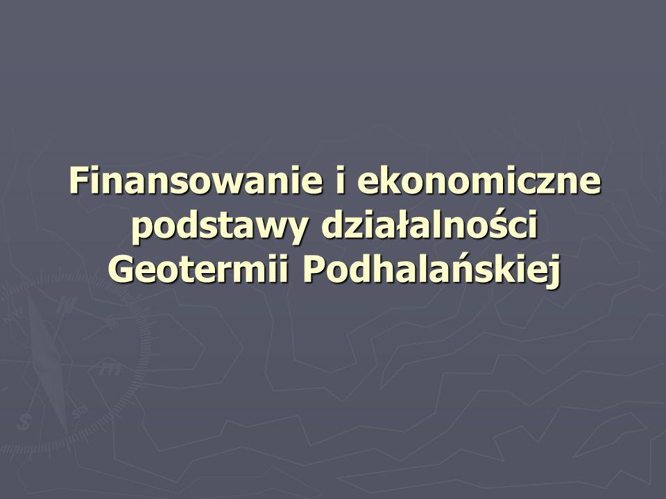 Projekt geotermalny Podhale – źródła finansowania Kwota Źródła finansowania mln PLN mln USD Kapitał własny 143,944,6 Dotacje (w tym) 98,830,9 Unia Europejska Unia Europejska59,318,5 NFOŚiGW NFOŚiGW10,63,3 Eko-fundusz Eko-fundusz4,21,3 GEF GEF14,54,3 USAID USAID8,12,5 DEPA DEPA2,10,7 Razem finansowanie 242,7 75,5