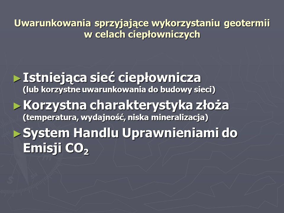 Bariery w rozwoju wykorzystania geotermii w Polsce Brak proekologicznej polityki Państwa Obciążenia finansowe wynikające z obowiązujących przepisów prawa Obciążenia finansowe wynikające z obowiązujących przepisów prawa (podatki, opłaty: eksploatacyjna, informacja geologiczna, użytkowanie górnicze) (podatki, opłaty: eksploatacyjna, informacja geologiczna, użytkowanie górnicze) Nieuwzględnienie zastępowania niskiej emisji w Systemie Handlu Uprawnieniami do Emisji Nieuwzględnienie zastępowania niskiej emisji w Systemie Handlu Uprawnieniami do Emisji Ograniczenie możliwości kształtowania cen energii zawarte w Prawie Energetycznym Ograniczenie możliwości kształtowania cen energii zawarte w Prawie Energetycznym Wysoka kapitałochłonność inwestycji w energetykę geotermalną