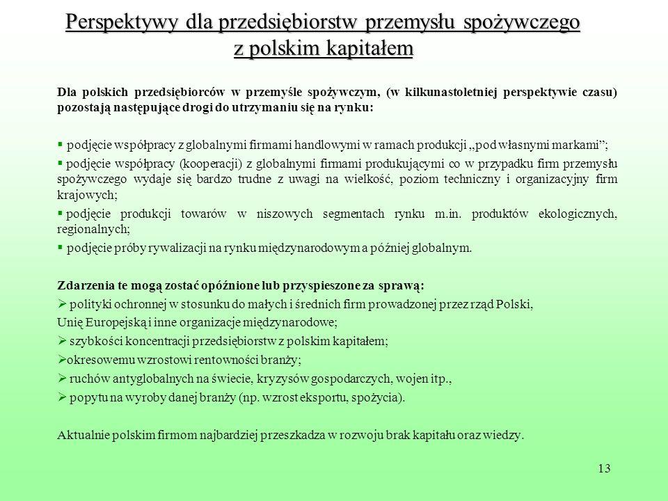 13 Perspektywy dla przedsiębiorstw przemysłu spożywczego z polskim kapitałem Dla polskich przedsiębiorców w przemyśle spożywczym, (w kilkunastoletniej