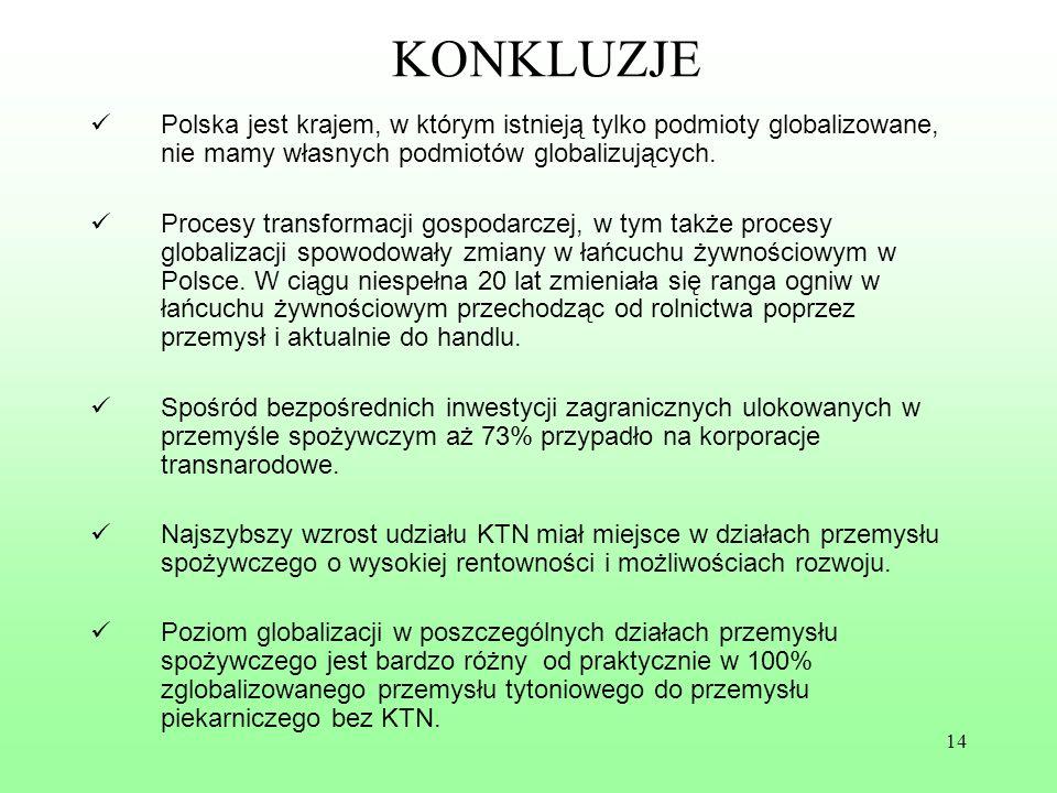 14 KONKLUZJE Polska jest krajem, w którym istnieją tylko podmioty globalizowane, nie mamy własnych podmiotów globalizujących. Procesy transformacji go