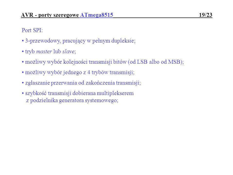 AVR - porty szeregowe ATmega8515 19/23 Port SPI: 3-przewodowy, pracujący w pełnym dupleksie; tryb master lub slave; możliwy wybór kolejności transmisj