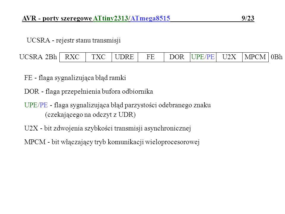 AVR - porty szeregowe ATtiny2313/ATmega8515 10/23 UCSRB - rejestr sterujący transmisją RXCIE - zezwolenie na przerwania wywołane odebraniem znaku TXCIE - zezwolenie na przerwania wywołane zakończeniem nadawania znaku UDRIE - zezwolenie na przerwania wywołane opróżnieniem bufora nadajnika RXEN - włączenie odbiornika TXEN - włączenie nadajnika UCSZ2 - włączenie transmisji 9-bitowej (CHR9 w AT90S2313) RXB8 - najstarszy bit odebranego znaku 9-bitowego TXB8 - najstarszy bit 9-bitowego znaku do nadania RXCIETXCIEUDRIERXENTXENUCSZ2RXB8TXB8 UCSRB0Ah 2Ah