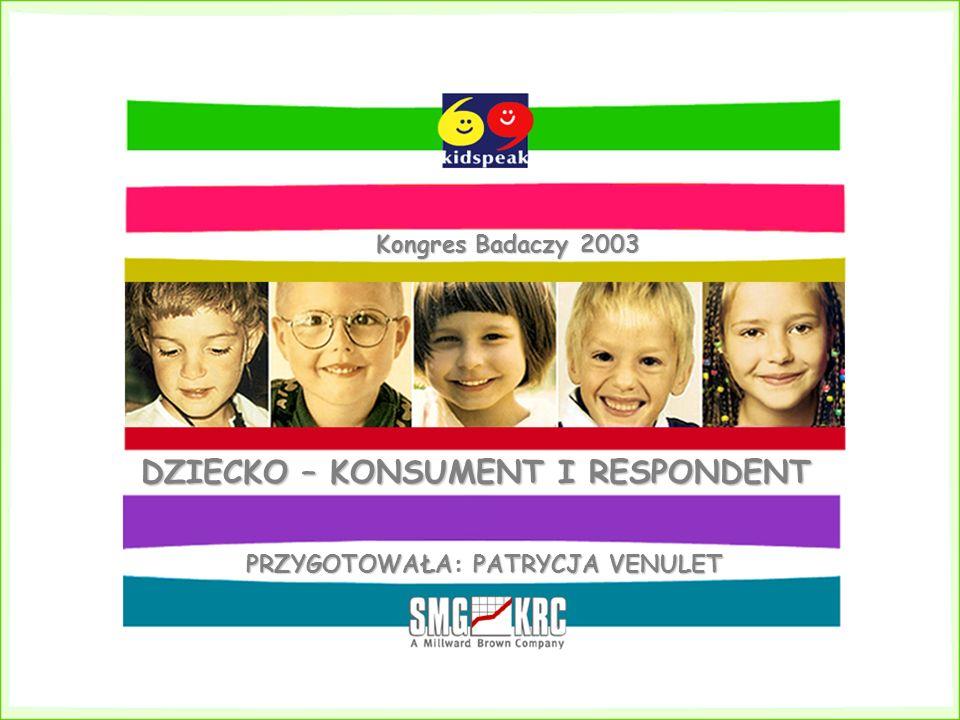 DZIECKO – KONSUMENT I RESPONDENT PRZYGOTOWAŁA: PATRYCJA VENULET Kongres Badaczy 2003