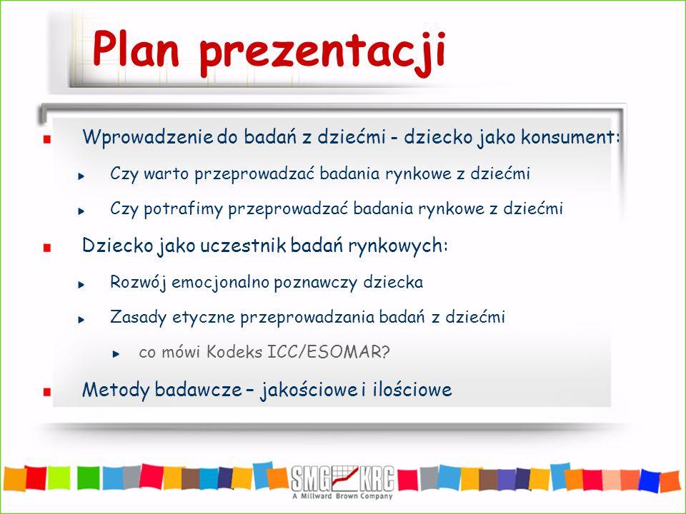 Plan prezentacji Wprowadzenie do badań z dziećmi - dziecko jako konsument: Czy warto przeprowadzać badania rynkowe z dziećmi Czy potrafimy przeprowadz