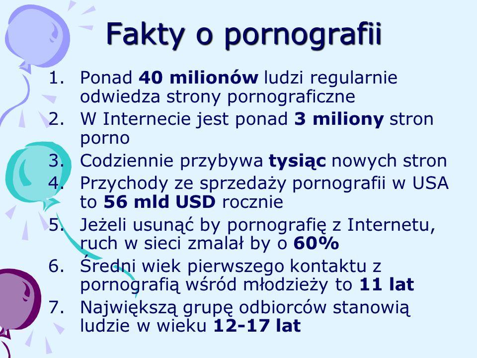 Fakty o pornografii 1.Ponad 40 milionów ludzi regularnie odwiedza strony pornograficzne 2.W Internecie jest ponad 3 miliony stron porno 3.Codziennie p