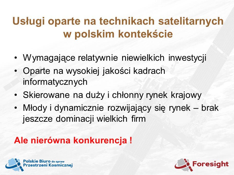 Usługi oparte na technikach satelitarnych w polskim kontekście Wymagające relatywnie niewielkich inwestycji Oparte na wysokiej jakości kadrach informatycznych Skierowane na duży i chłonny rynek krajowy Młody i dynamicznie rozwijający się rynek – brak jeszcze dominacji wielkich firm Ale nierówna konkurencja !