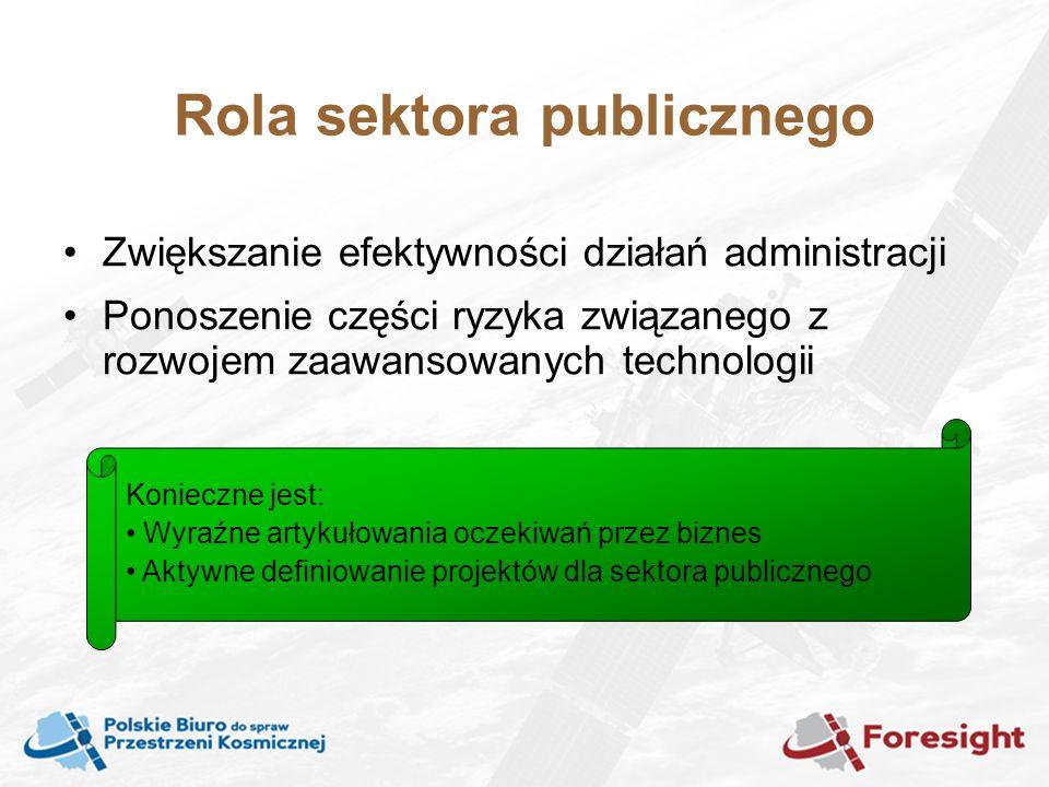 Rola sektora publicznego Zwiększanie efektywności działań administracji Ponoszenie części ryzyka związanego z rozwojem zaawansowanych technologii Konieczne jest: Wyraźne artykułowania oczekiwań przez biznes Aktywne definiowanie projektów dla sektora publicznego