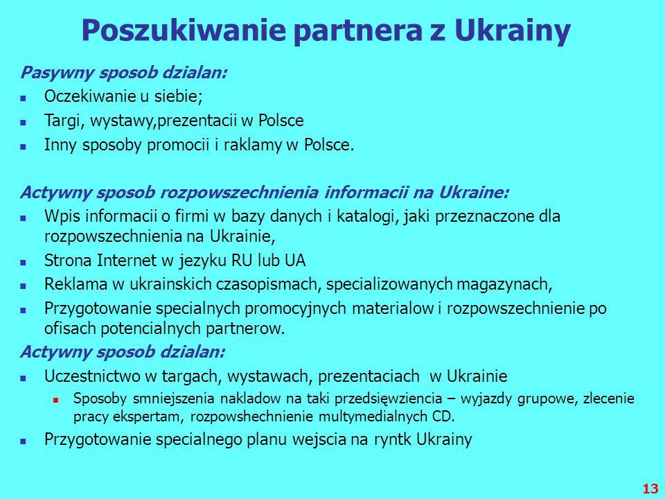 13 Poszukiwanie partnera z Ukrainy Pasywny sposob dzialan: Oczekiwanie u siebie; Targi, wystawy,prezentacii w Polsce Inny sposoby promocii i raklamy w