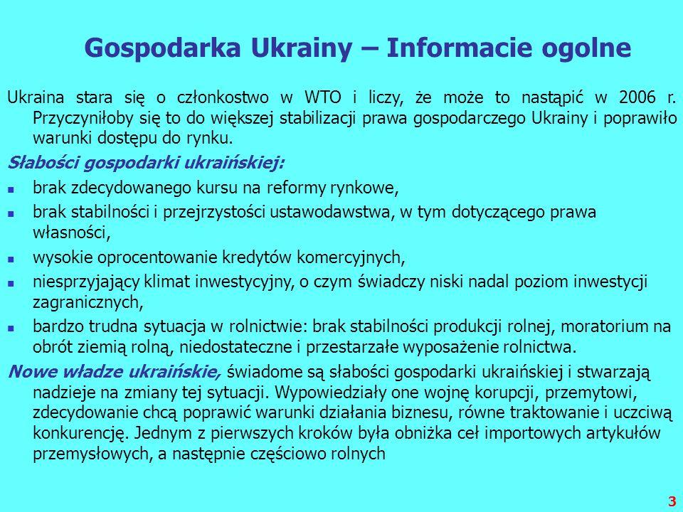 3 Gospodarka Ukrainy – Informacie ogolne Ukraina stara się o członkostwo w WTO i liczy, że może to nastąpić w 2006 r. Przyczyniłoby się to do większej