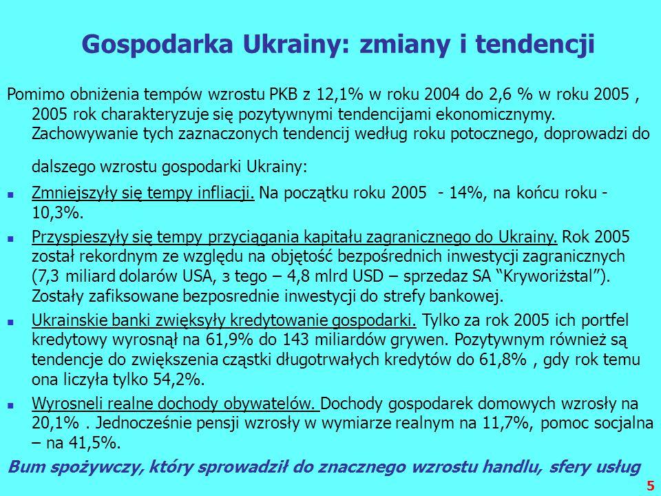 5 Gospodarka Ukrainy: zmiany i tendencji Pomimo obniżenia tempów wzrostu PKB z 12,1% w roku 2004 do 2,6 % w roku 2005, 2005 rok charakteryzuje się poz