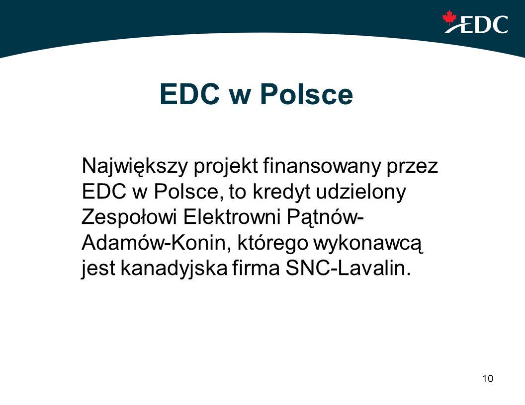10 EDC w Polsce Największy projekt finansowany przez EDC w Polsce, to kredyt udzielony Zespołowi Elektrowni Pątnów- Adamów-Konin, którego wykonawcą je