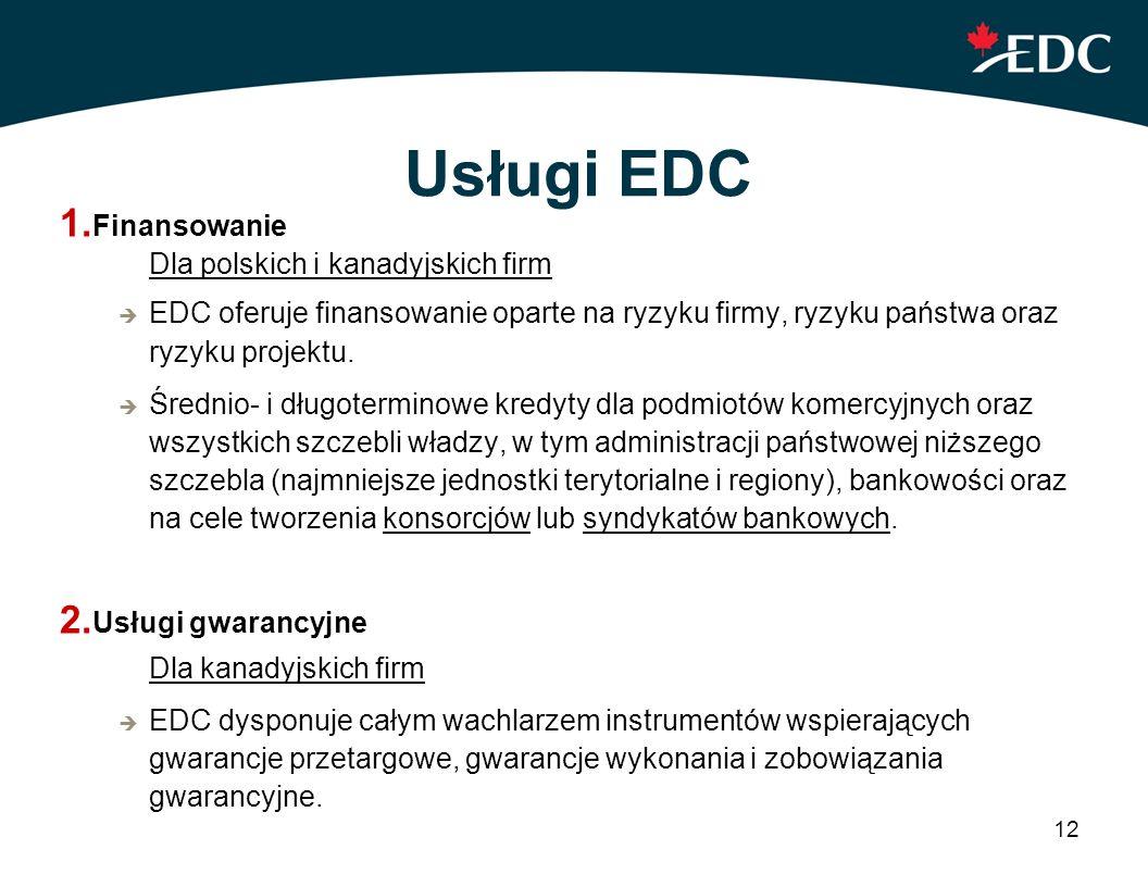 12 Usługi EDC 1. Finansowanie Dla polskich i kanadyjskich firm EDC oferuje finansowanie oparte na ryzyku firmy, ryzyku państwa oraz ryzyku projektu. Ś