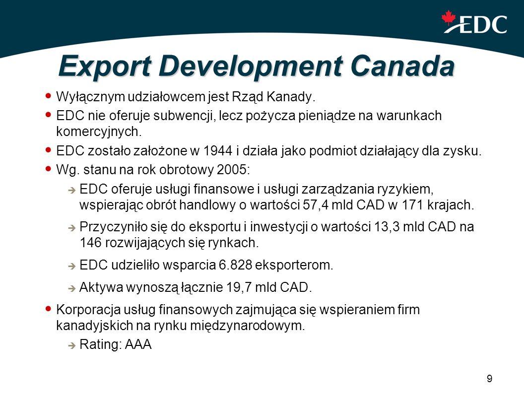 9 Export Development Canada Wyłącznym udziałowcem jest Rząd Kanady. EDC nie oferuje subwencji, lecz pożycza pieniądze na warunkach komercyjnych. EDC z