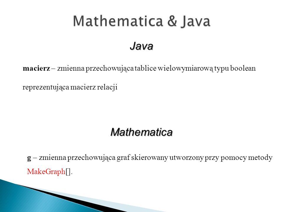 g – zmienna przechowująca graf skierowany utworzony przy pomocy metody MakeGraph[]. Java Mathematica macierz – zmienna przechowująca tablice wielowymi