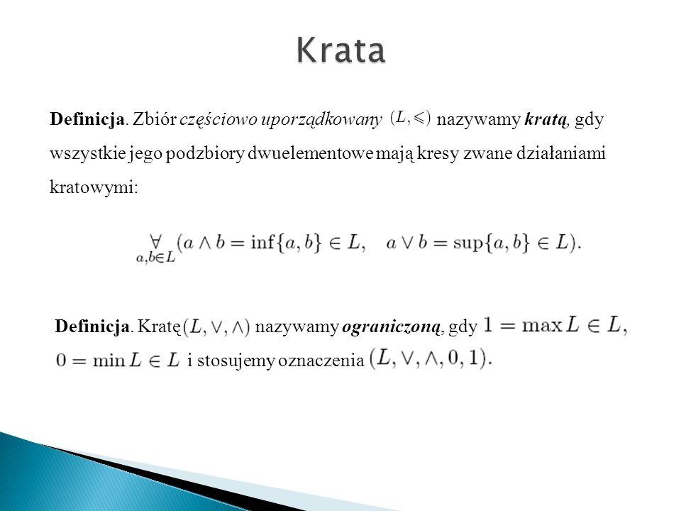Definicja. Zbiór częściowo uporządkowany nazywamy kratą, gdy wszystkie jego podzbiory dwuelementowe mają kresy zwane działaniami kratowymi: Definicja.