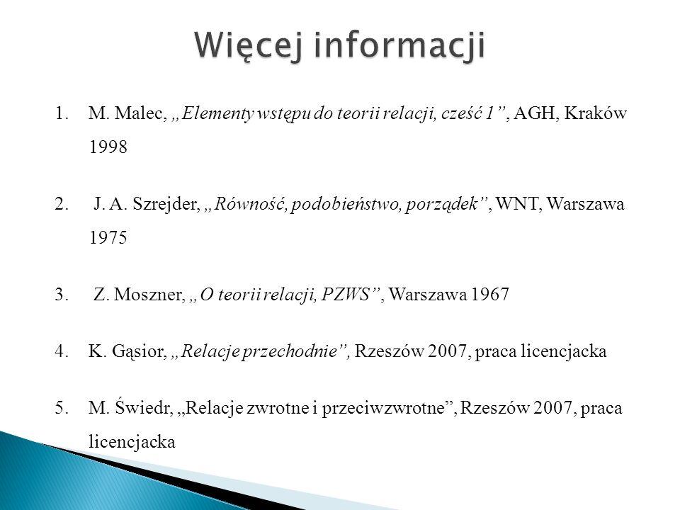 1.M. Malec, Elementy wstępu do teorii relacji, cześć 1, AGH, Kraków 1998 2. J. A. Szrejder, Równość, podobieństwo, porządek, WNT, Warszawa 1975 3. Z.