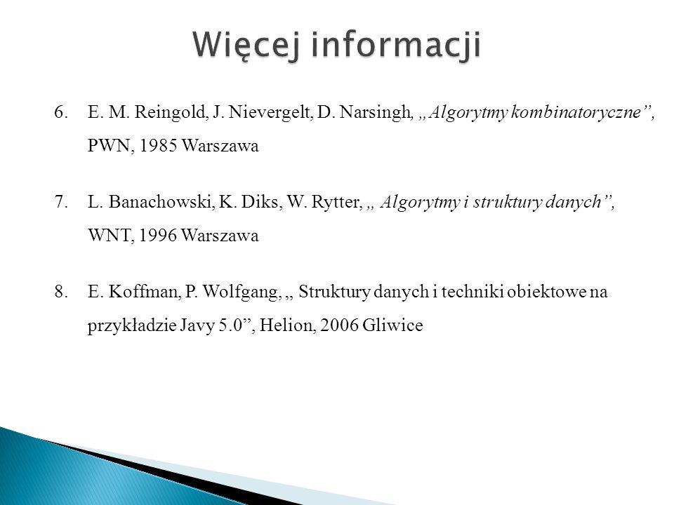 6.E. M. Reingold, J. Nievergelt, D. Narsingh, Algorytmy kombinatoryczne, PWN, 1985 Warszawa 7.L. Banachowski, K. Diks, W. Rytter, Algorytmy i struktur