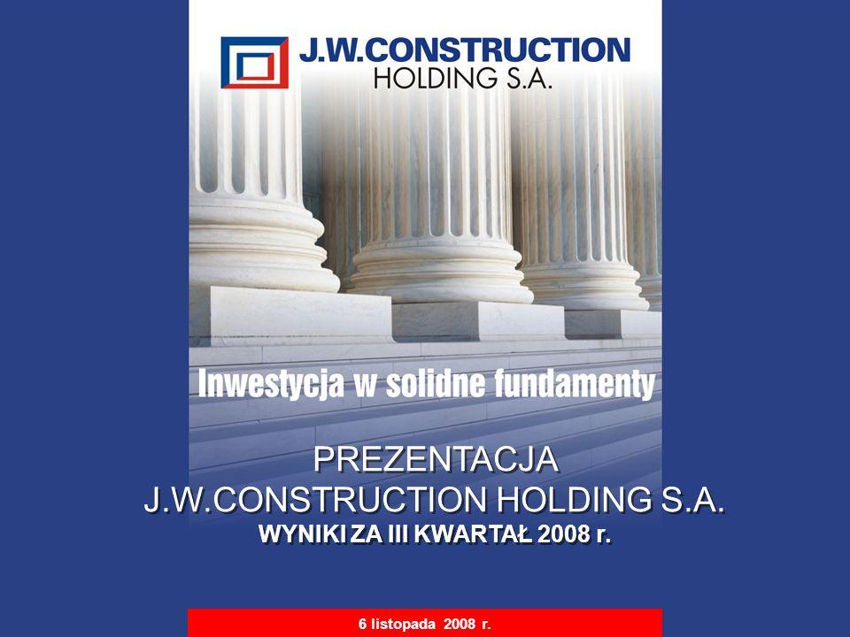 S t r i c t l y P r i v a t e & C o n f i d e n t i a l 1 6 listopada 2008 r. PREZENTACJA J.W.CONSTRUCTION HOLDING S.A. WYNIKI ZA III KWARTAŁ 2008 r.