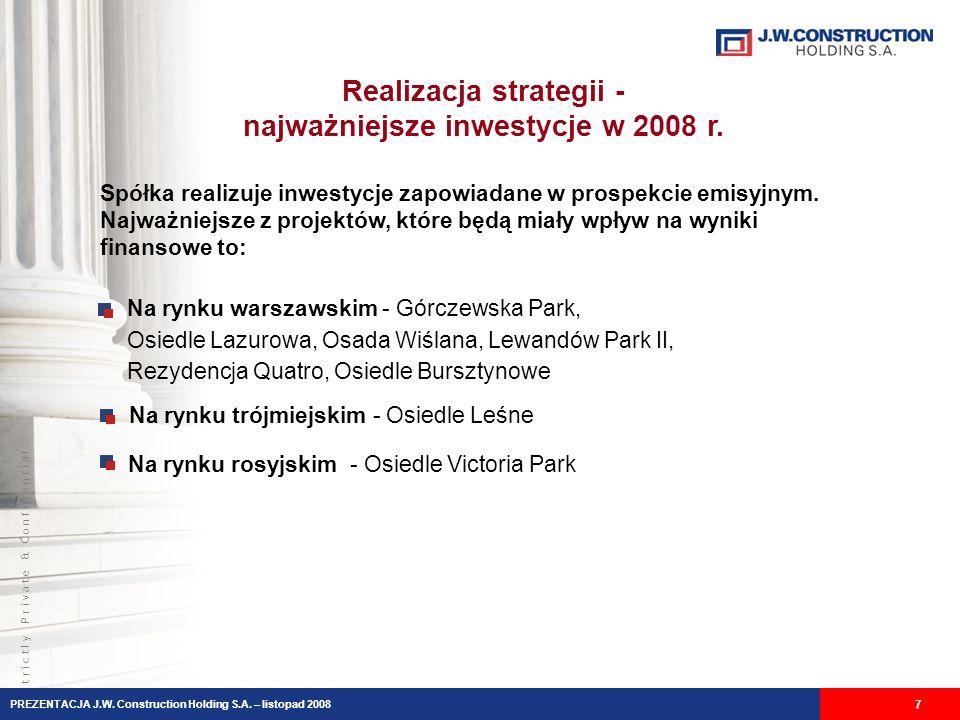 S t r i c t l y P r i v a t e & C o n f i d e n t i a l Realizacja strategii - najważniejsze inwestycje w 2008 r. Spółka realizuje inwestycje zapowiad