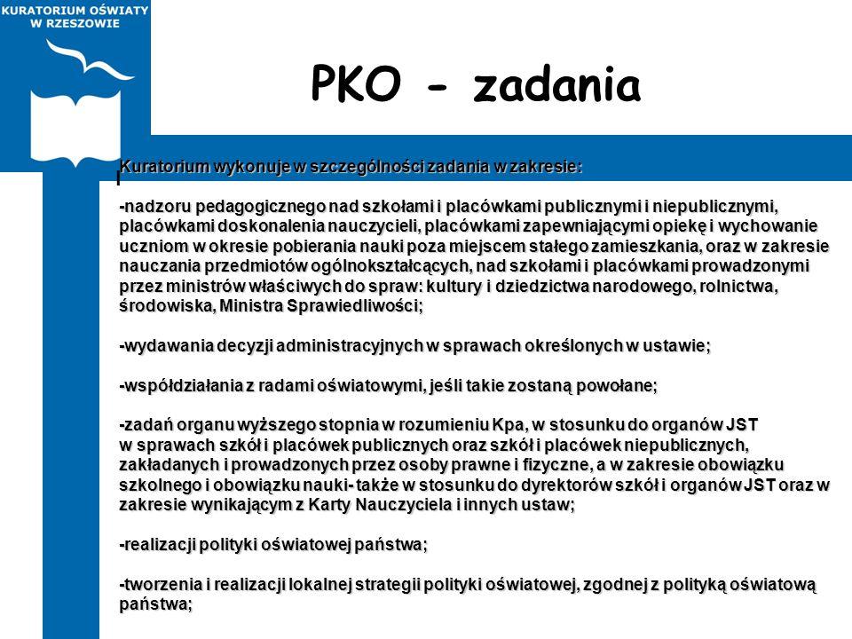 PKO - zadania Kuratorium wykonuje w szczególności zadania w zakresie: -nadzoru pedagogicznego nad szkołami i placówkami publicznymi i niepublicznymi,