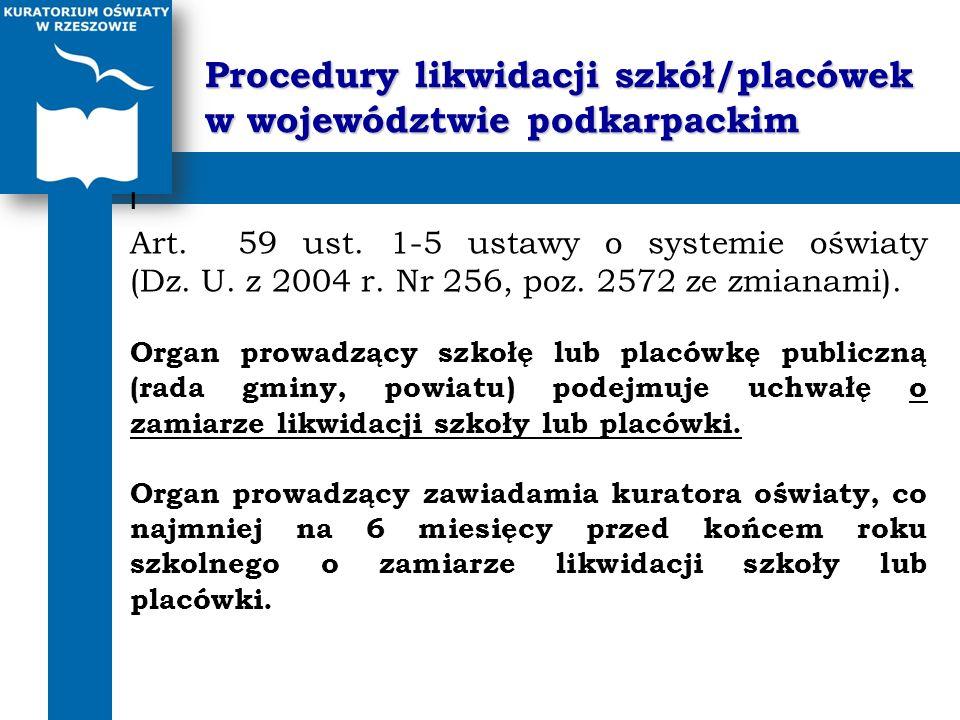 Procedury likwidacji szkół/placówek w województwie podkarpackim I Art. 59 ust. 1-5 ustawy o systemie oświaty (Dz. U. z 2004 r. Nr 256, poz. 2572 ze zm