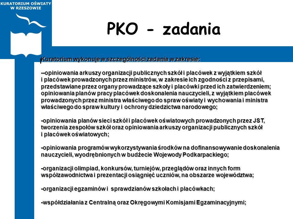 PKO - zadania Kuratorium wykonuje w szczególności zadania w zakresie: --opiniowania arkuszy organizacji publicznych szkół i placówek z wyjątkiem szkół