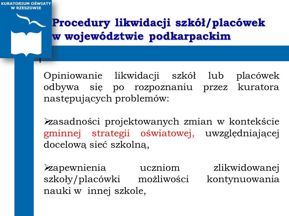 Procedury likwidacji szkół/placówek w województwie podkarpackim I Opiniowanie likwidacji szkół lub placówek odbywa się po rozpoznaniu przez kuratora n