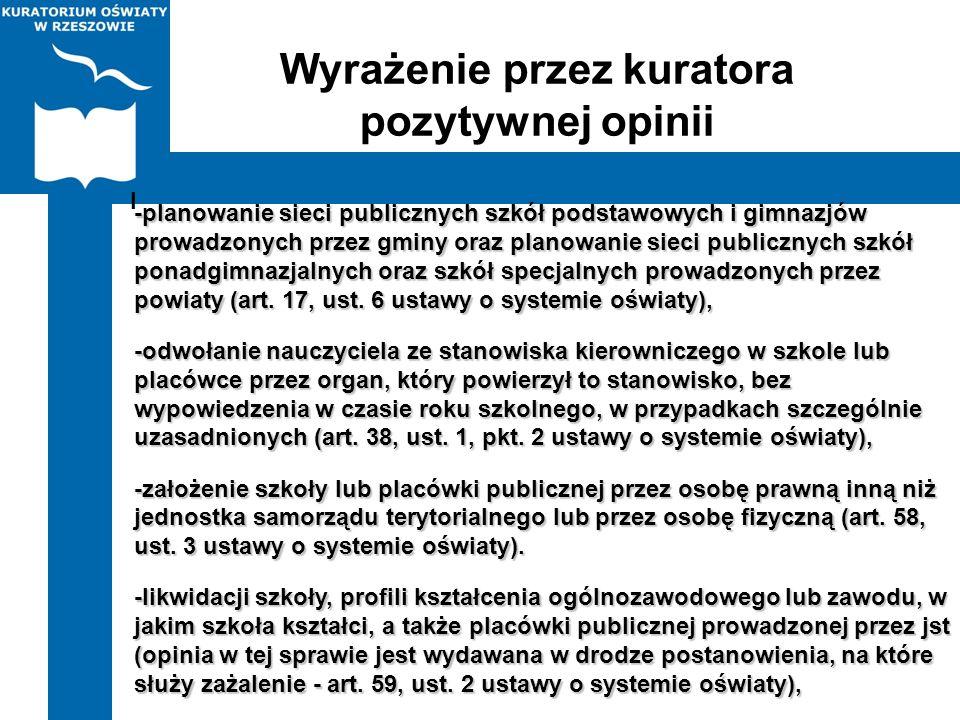 Wyrażenie przez kuratora pozytywnej opinii -planowanie sieci publicznych szkół podstawowych i gimnazjów prowadzonych przez gminy oraz planowanie sieci