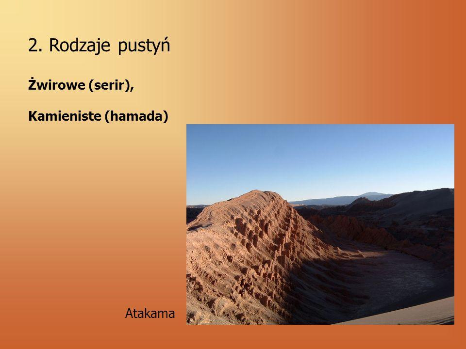 2. Rodzaje pustyń Żwirowe (serir), Kamieniste (hamada) Atakama