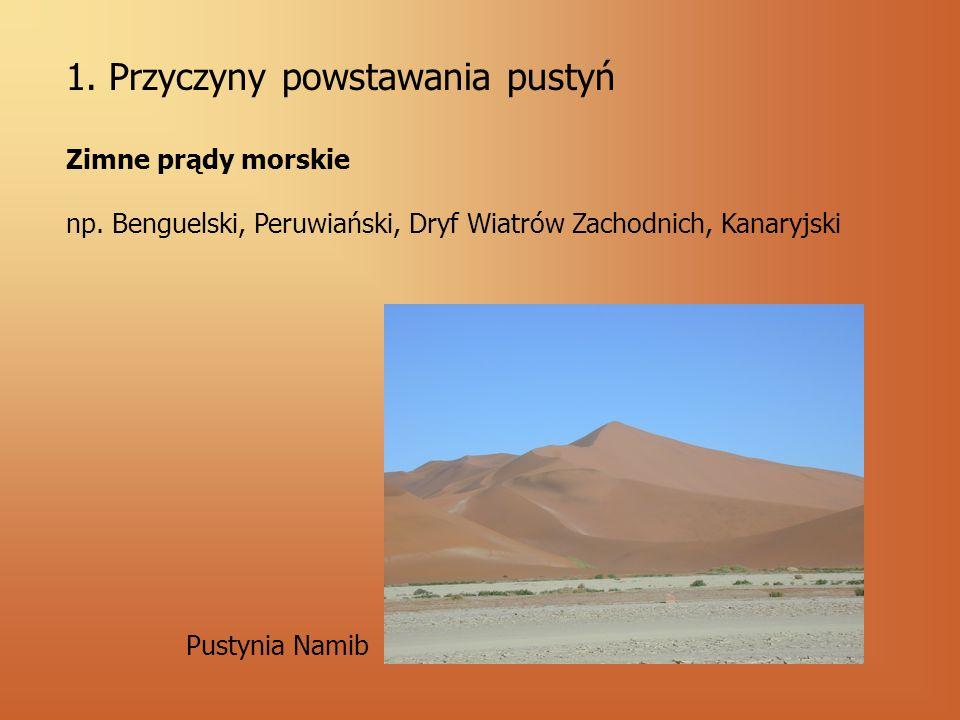 1. Przyczyny powstawania pustyń Zimne prądy morskie np. Benguelski, Peruwiański, Dryf Wiatrów Zachodnich, Kanaryjski Pustynia Namib