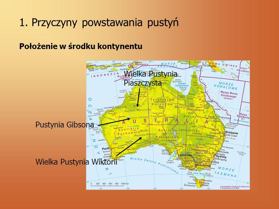 1. Przyczyny powstawania pustyń Położenie w środku kontynentu Wielka Pustynia Wiktorii Pustynia Gibsona Wielka Pustynia Piaszczysta